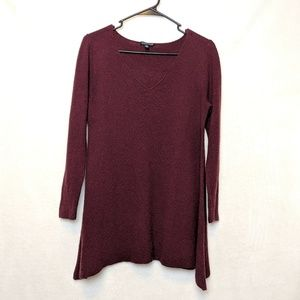 Eileen Fisher, long maroon top, size small